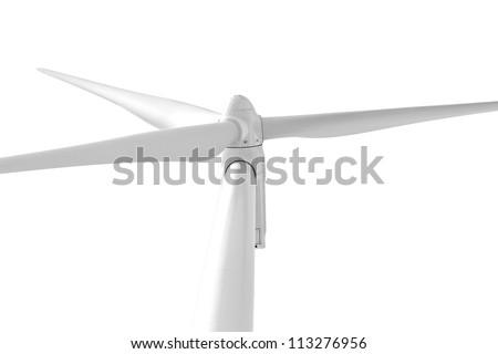 Wind turbine isolated on white - stock photo