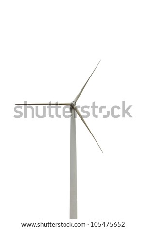 Wind turbine isolated on white background, environment friendly energy, Thailand - stock photo