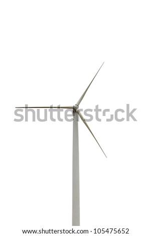 Wind turbine isolated on white background, environment friendly energy, Thailand - stock photo