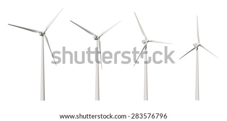 Wind turbine isolated on white background with clipping path - stock photo
