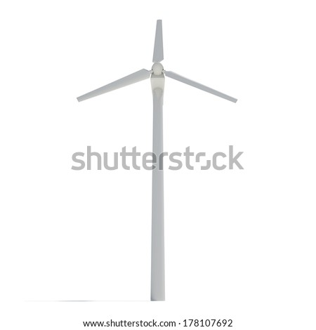 Wind turbine. Isolated render on white. Alternative energy source