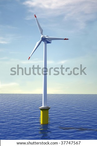 wind turbine offshore at sunset - rendering - stock photo