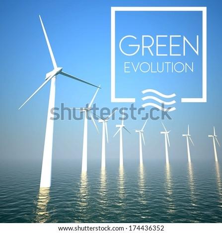 Wind turbine on sea: Generating green energy - stock photo