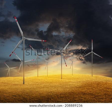 wind turbine on sunset background  - stock photo