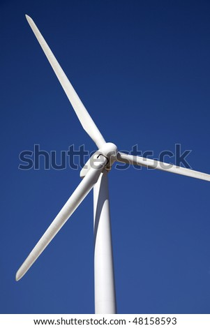 Wind Turbine Outside of Palm Springs California Wide Angle Strange View Close-Up Detail - stock photo