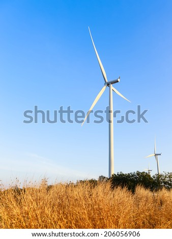 Wind turbine power generator during near twilight