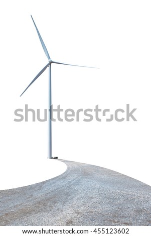 Wind turbine power on white background - stock photo