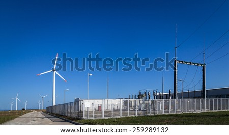 Wind turbine power plant - stock photo