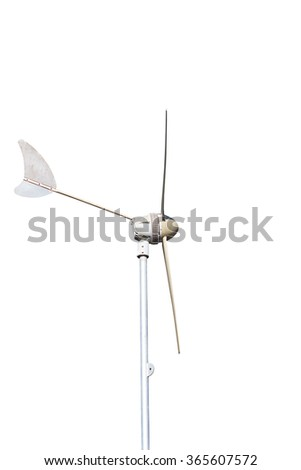 wind turbine, produce power, green energy concept, isolated on white background - stock photo