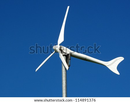 Wind turbine, renewable energy source for every home. Close up view. - stock photo