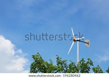 Wind turbine, renewable energy source of future. - stock photo