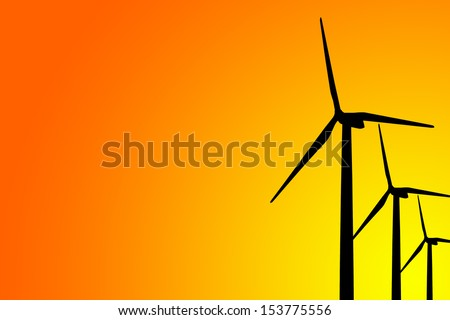 Wind turbine silhouette on gradient background