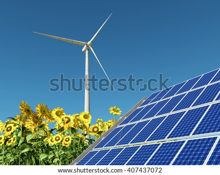 Wind turbine, solar panel and sunflowers Computer generated 3D illustration