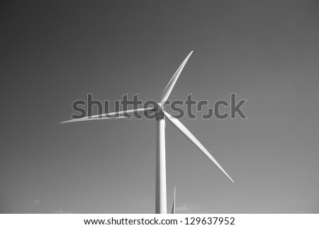 Wind turbine with black and white background (Lanzarote Canary Islands)