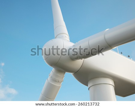 Wind turbine with blue sky. 3d illustration high resolution - stock photo
