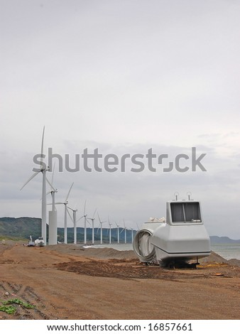 wind turbine with nacelle and hub at the ground - stock photo