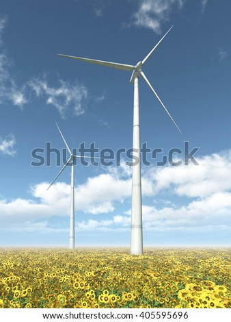 Wind turbines and sunflowers Computer generated 3D illustration - stock photo