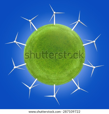Wind turbines around a green planet symbolizing clean energies. Innovation must be utilized to promote renewable energies for a better future. - stock photo