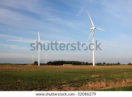 Wind Turbines at sunrise - stock photo