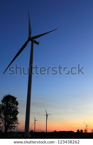 Wind turbines at sunset in Thailand