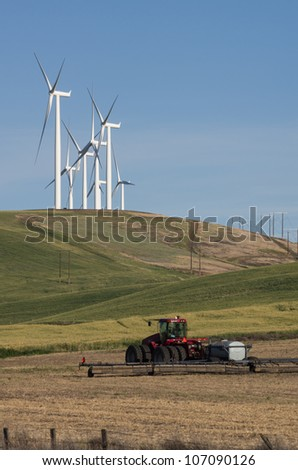 Wind turbines compete with traditional farming
