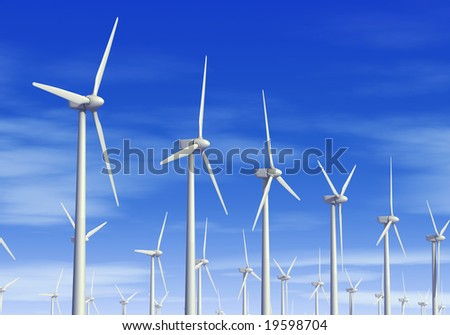 Wind turbines. 3D generated image.