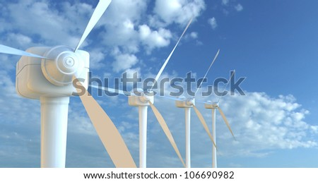 wind turbines 3D render - stock photo