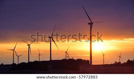 Wind turbines during beautiful sunset - stock photo