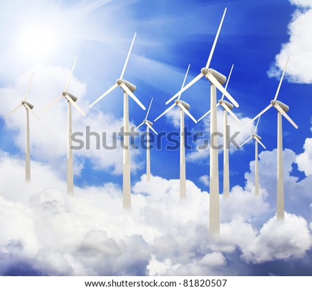 wind turbines farm.