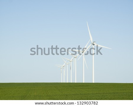 Wind turbines farm in Limon, Colorado. - stock photo