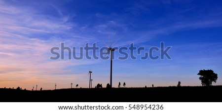 Wind turbines farm in the San Silvestre. Huelva, Spain.