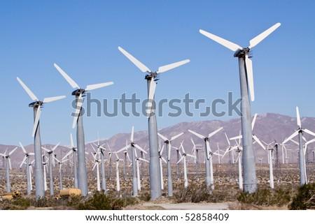 Wind turbines for clean alternative energy - stock photo
