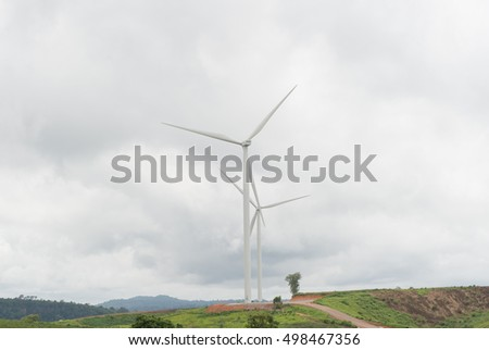 Wind turbines generating electricity on the mountain,thailand