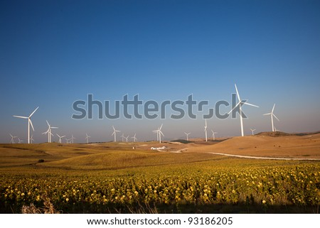 Wind turbines in Andalusia, Spain.