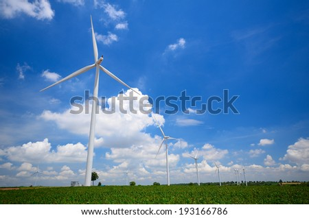 Wind Turbines in Green Meadows