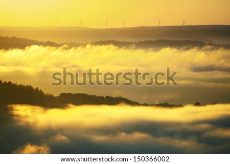 wind turbines in Hochwald, Saarland, Germany - stock photo