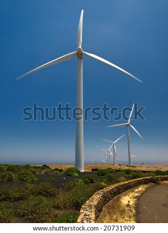 Wind turbines in Lanzarote, Canary Islands. Spain. - stock photo
