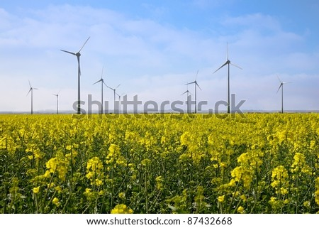 Wind Turbines in Lincolnshire in a yellow rape field with a blue Sky with linconshire wolds in background