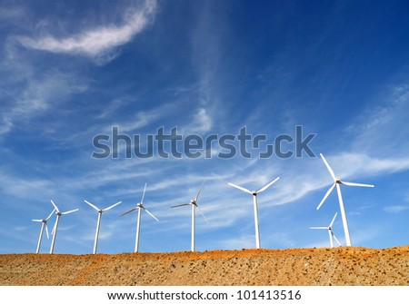 Wind Turbines in Palm Springs, California, USA, generating clean power - stock photo
