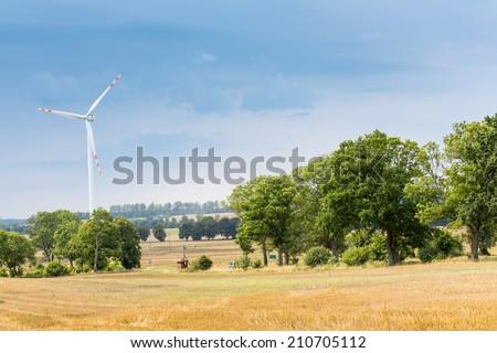 Wind turbines in Poland - stock photo