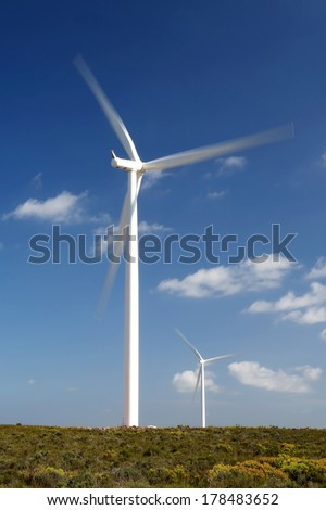 Wind turbines in South Africa for generating electricity - stock photo