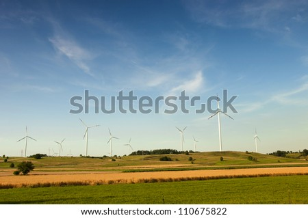 Wind turbines in Suwalki. Poland - stock photo