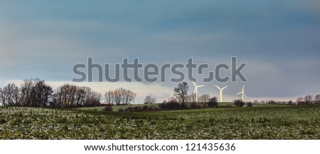 Wind turbines in the Danish contry side