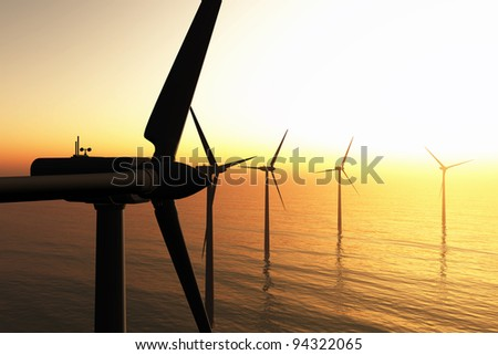 Wind Turbines in the Sea in the Sunset 3D render - stock photo