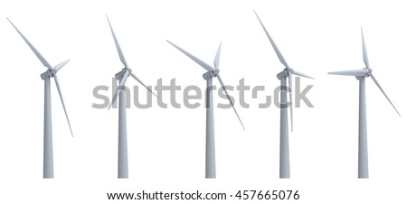 wind turbines isolated on white background. 3D illustration.