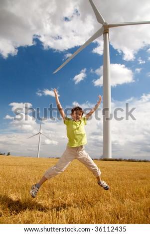 wind turbines on blue sky - stock photo