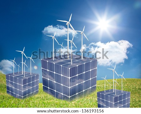 Wind turbines on cubes made of solar panels in a sunny meadow