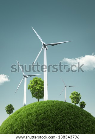 Wind Turbines on green fields and shiny blue skies -  Green Energy Concept - Illustration - stock photo
