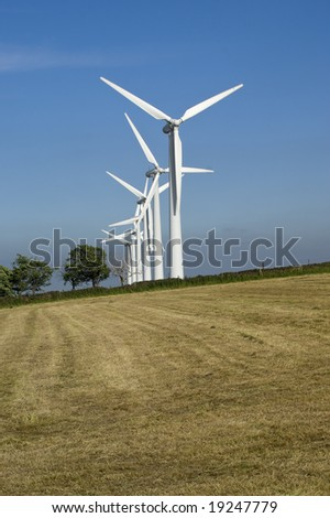 Wind Turbines on the Yorkshire Moors England - stock photo