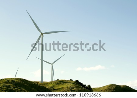 Wind turbines on top of hill